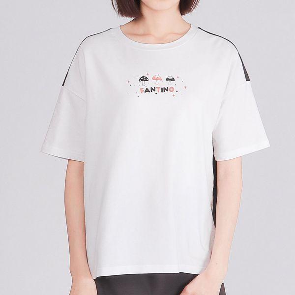 雙色拼接落肩圓領衫(女)-白