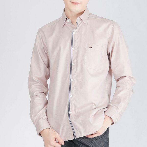 奧地利棉商務襯衫(男)-淺卡其