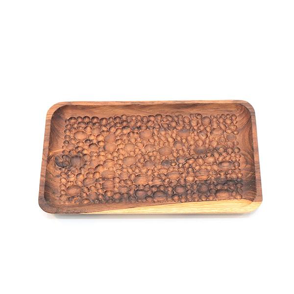 天然柚木餐盤-波點款 20cm/食用安心不上漆原木製長型托盤 柚木,廚房,餐具,筷子,環保
