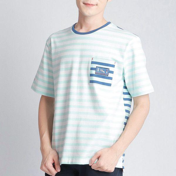 口袋圓領衫(男)-清水藍條紋