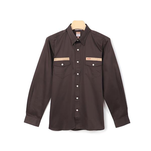 厚紡埃及棉刺繡保暖舒適休閒襯衫(男)-啡