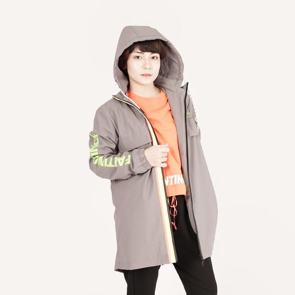 機能防風保暖長版連帽外套(女)-灰/厚款