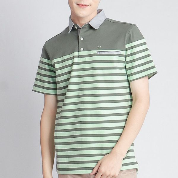 POLO衫(男)-橄欖綠條紋