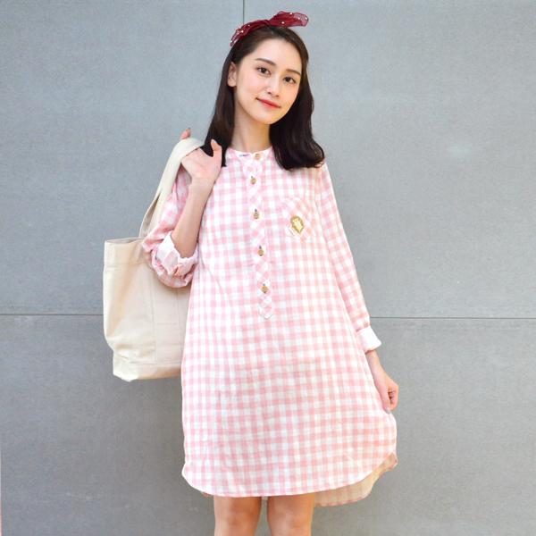 刺繡格紋洋裝(共3色) 休閒服,舒適,刺繡,台灣設計,台灣製造,文青,文創設計,刺蝟,戶外休閒