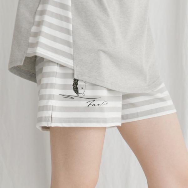 美膚膠原蛋白條紋抽繩休閒家居褲/居家短褲-條紋灰(褲) 睡衣,家居服,居家服,舒服的睡衣,美膚睡衣,膠原蛋白睡衣,fantino睡衣