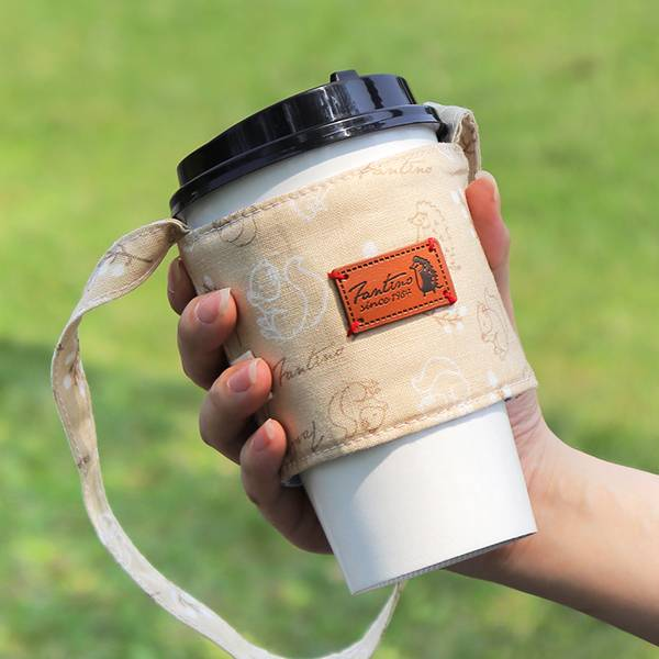 雙層隔熱環保飲料杯套/飲料提袋(森林萬花筒)-大地暖棕 飲料杯套,環保杯套,手提杯套,杯套,環保飲料提袋,飲料袋,飲料提袋,婚禮小物,禮物,外帶,環保,防水布,杯套,飲料,提袋,杯套提袋,環保杯袋,環保杯,飲料杯