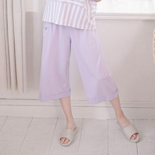 UMORFIL膠原蛋白七分寬褲-粉紫 睡衣,家居服,居家服,家居褲,居家褲,舒服睡衣,umorfil,膠原蛋白紗,美膚膠原蛋白,有機棉,親膚