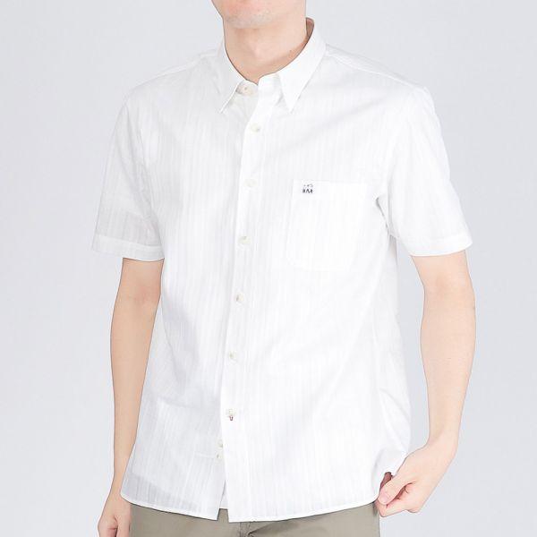 100%埃及棉休閒襯衫(男)-白色