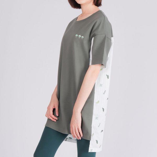 埃及棉拼接長版圓領衫(女)-灰綠