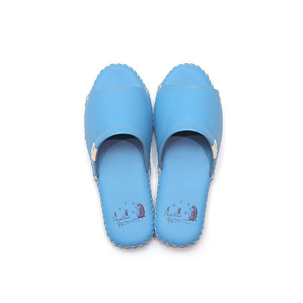 真皮手工縫製家居拖鞋/防滑室內拖鞋-冰沙藍(繽紛森林) 女鞋,室內拖,台灣設計,台灣製造,拖鞋,布花,居家良品,防滑,刺蝟,牛皮,真皮