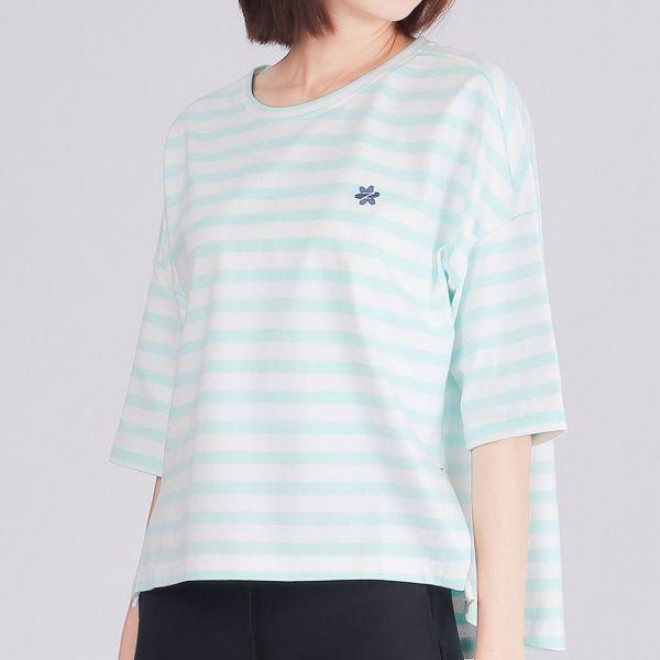 埃及棉落肩五分袖條紋圓領衫(女)-清水藍