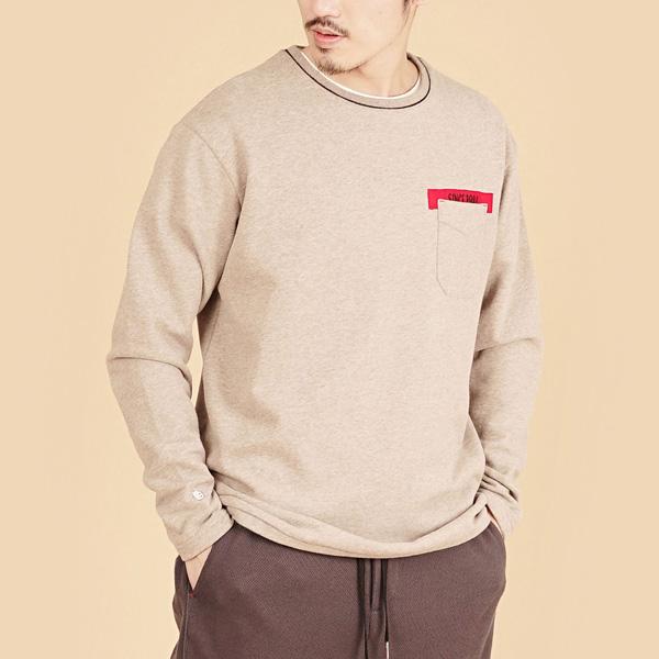 膠原蛋白厚紡刷毛口袋繡花圓領長袖棉衫(男)-麻花卡其