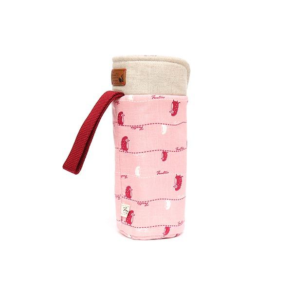保溫防撞水壺袋/水瓶提袋(漫步一線間)-櫻花粉 保溫袋,水壺袋,水壺提袋,保冰溫,手攜式,防撞,防摔,保溫瓶,玻璃瓶,水壺,學生,保溫杯套,隔熱保護,水杯套