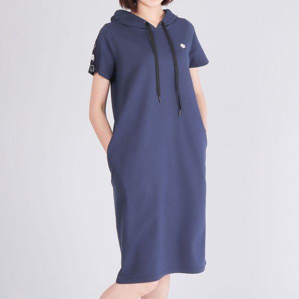 美膚膠原蛋白連帽洋裝(女)-深藍