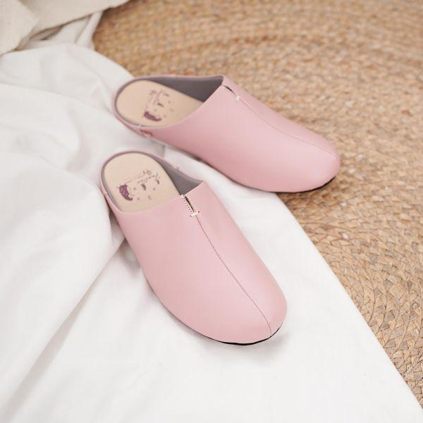 (包腳款)真皮防滑家居拖鞋/室內拖鞋-櫻花粉 女鞋,室內拖,台灣設計,台灣製造,拖鞋,布花,居家良品,防滑,刺蝟,牛皮,真皮