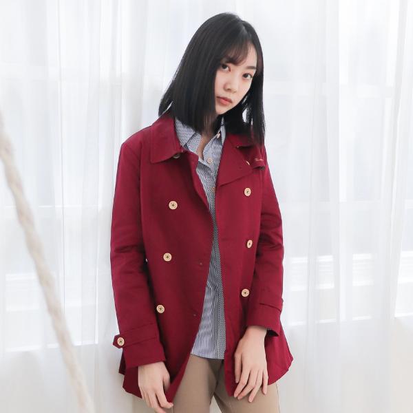 雙排釦風衣外套(紅) 休閒服,舒適,刺繡,台灣設計,台灣製造,文青,文創設計,刺蝟,戶外休閒