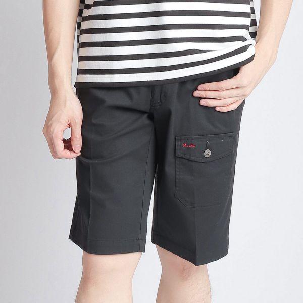 埃及棉短褲(男)-黑印細條