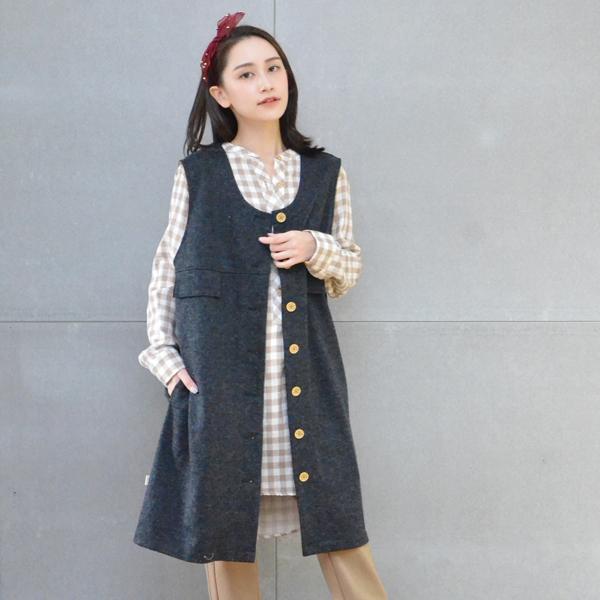 羊毛長板背心(鐵灰) 休閒服,舒適,刺繡,台灣設計,台灣製造,文青,文創設計,刺蝟,戶外休閒