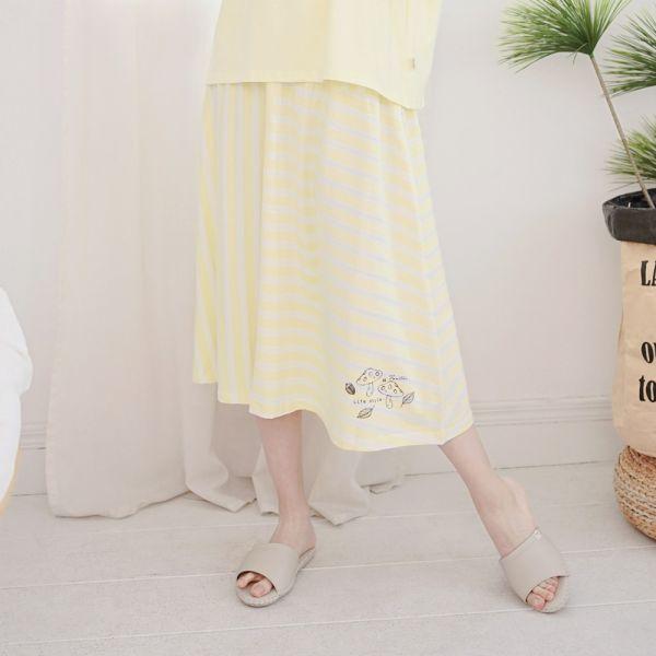 UMORFIL膠原蛋白拼接半裙-條紋黃 睡衣,家居服,居家服,家居褲,居家褲,舒服睡衣,umorfil,膠原蛋白紗,美膚膠原蛋白,有機棉,親膚