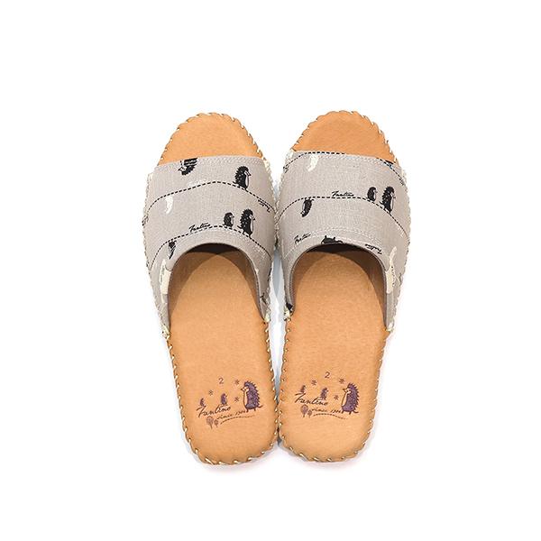 手工縫製真皮布花家居拖鞋/室內拖鞋-月球灰(漫步一線間) 女鞋,室內拖,台灣設計,台灣製造,拖鞋,布花,居家良品,防滑,刺蝟,豚皮,真皮