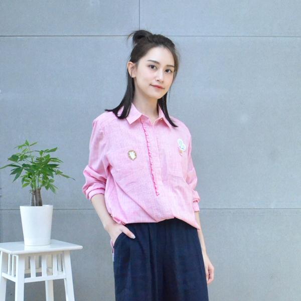 刺繡細紋七分袖襯衫(共2色) 休閒服,舒適,刺繡,台灣設計,台灣製造,文青,文創設計,刺蝟,戶外休閒