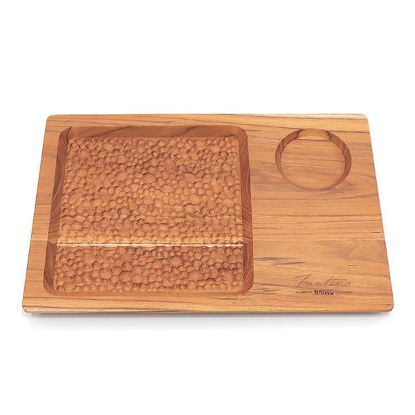 天然柚木咖啡盤-波點款 30*20cm /食用安心不上漆原木製早午餐盤 柚木,廚房,餐具,筷子,環保