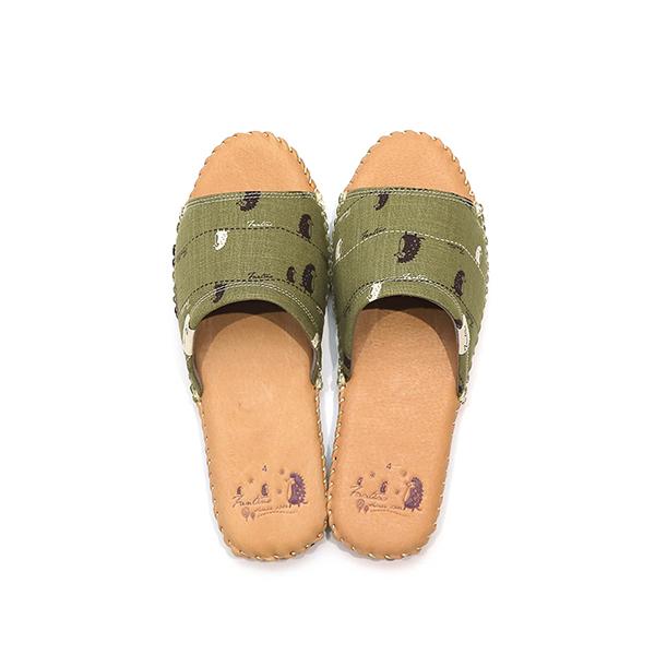 手工縫製真皮布花家居拖鞋/室內拖鞋-抹茶綠(漫步一線間) 女鞋,室內拖,台灣設計,台灣製造,拖鞋,布花,居家良品,防滑,刺蝟,豚皮,真皮