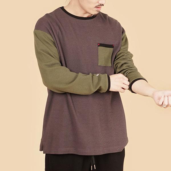 膠原蛋白拼接圓領組織布長袖棉衫(男)-灰綠