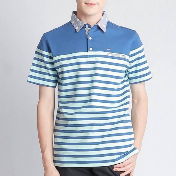 POLO衫(男)-水藍條紋