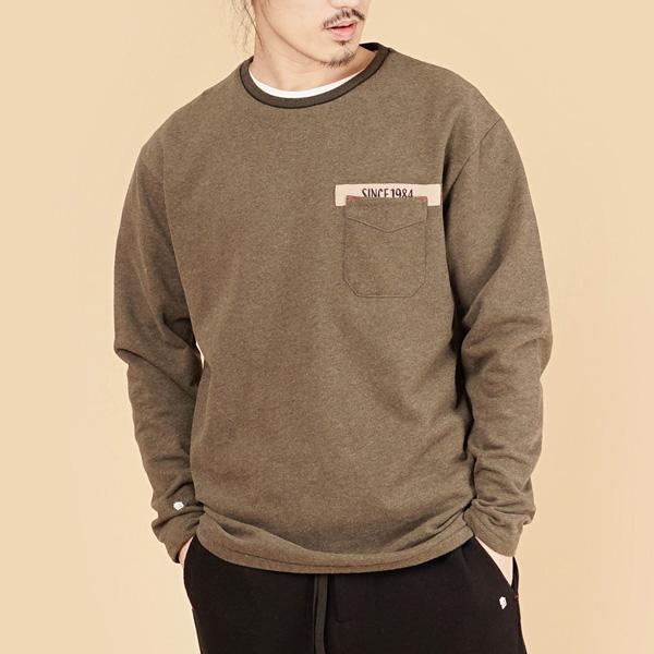 膠原蛋白厚紡刷毛口袋繡花圓領長袖棉衫(男)-麻花啡