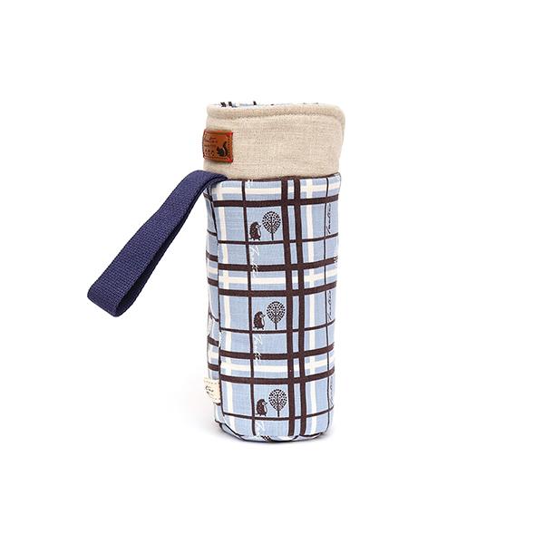 保溫防撞水壺袋/水瓶提袋(格紋街區)-天空藍 保溫袋,水壺袋,水壺提袋,保冰溫,手攜式,防撞,防摔,保溫瓶,玻璃瓶,水壺,學生,保溫杯套,隔熱保護,水杯套