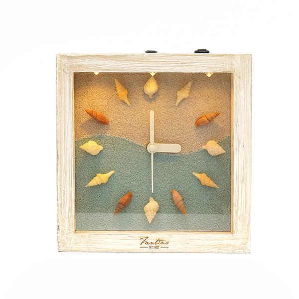 海洋深呼吸 手工木作時鐘-貝殼海洋 淺 家居品, 時鐘, 原木時鐘, 海洋時鐘, 手工時鐘, 療癒時鐘