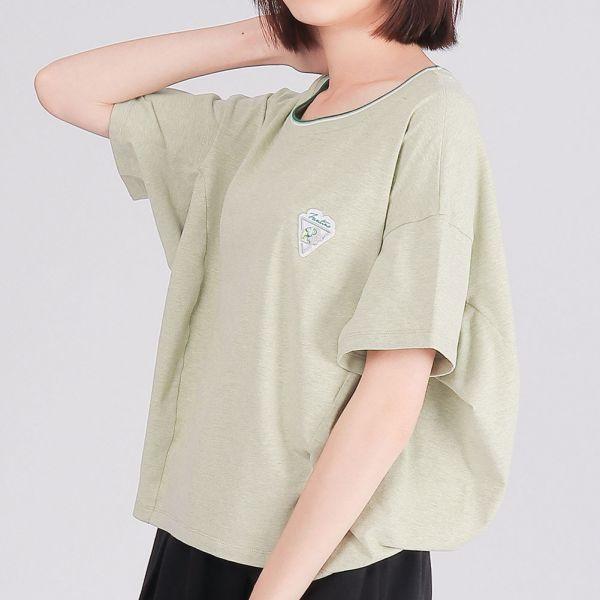 有機棉修身圓領衫(女)-麻花綠