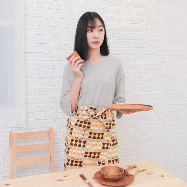 水玉迷宮棉麻半身工作圍裙+小提袋(黃水玉) 手工布料,台灣設計,台灣製造,花布設計,質感袋包,文創設計,刺蝟,提袋,包包,居家良品,提袋,手提包,方包,肩背包,側背包