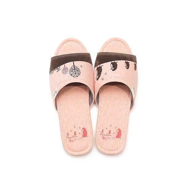 有機棉植絨家居拖鞋/室內拖鞋-麻花粉(刺蝟一家) 室內拖,台灣設計,台灣製造,拖鞋,布花,居家良品,防滑,刺蝟