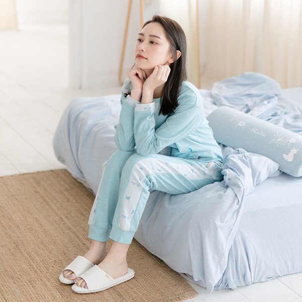 有機棉拼接美膚膠原蛋白針織保暖居家褲-拼接藍 睡衣,家居服,居家服,家居褲,居家褲,舒服睡衣,umorfil,膠原蛋白紗,美膚膠原蛋白,有機棉,親膚