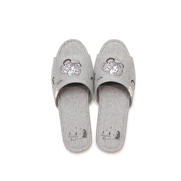 有機棉刺繡家居拖鞋/室內拖鞋-灰南瓜(童話南瓜園) 室內拖,台灣設計,台灣製造,拖鞋,布花,居家良品,防滑,刺蝟,南瓜