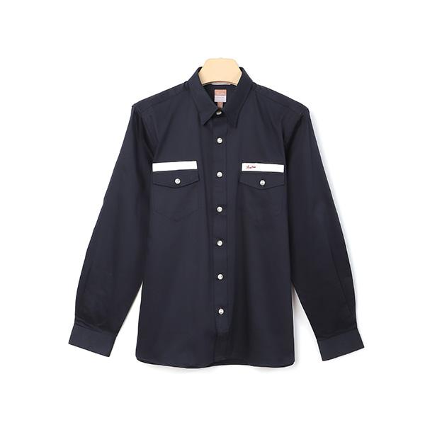 厚紡埃及棉刺繡保暖舒適休閒襯衫(男)-深藍