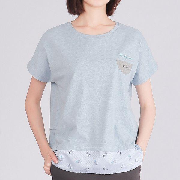 有機棉拼接前短後長圓領衫(女)-麻花藍