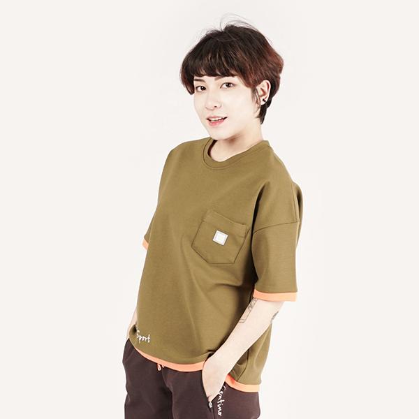 拼接舒適圓領T恤(女)-抹茶綠