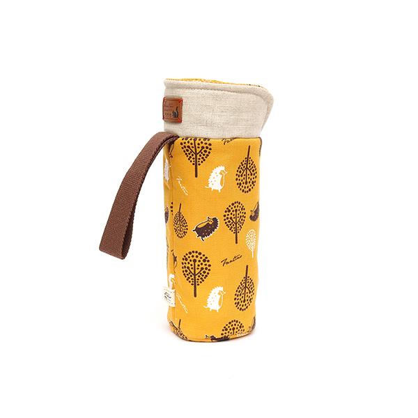 保溫防撞水壺袋/水瓶提袋(叢林躲貓貓)-芥末黃 保溫袋,水壺袋,水壺提袋,保冰溫,手攜式,防撞,防摔,保溫瓶,玻璃瓶,水壺,學生,保溫杯套,隔熱保護,水杯套