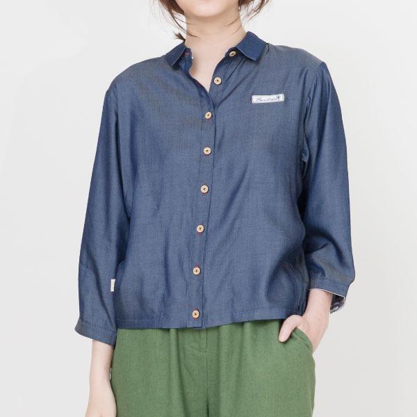 天絲棉休閒襯衫(深藍) 純棉,天絲棉,襯杉,服裝,女裝,fantino