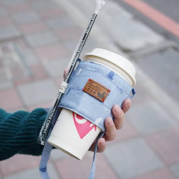 雙層隔熱環保飲料杯套/飲料提袋(漫步一線間)-天空藍 飲料杯套,環保杯套,手提杯套,杯套,環保飲料提袋,飲料袋,飲料提袋,婚禮小物,禮物,外帶,環保,防水布,杯套,飲料,提袋,杯套提袋,環保杯袋,環保杯,飲料杯