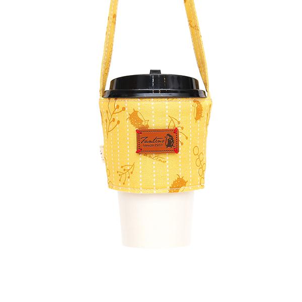 雙層隔熱環保飲料杯套/飲料提袋(漂浮森林)-起司黃 飲料杯套,環保杯套,手提杯套,杯套,環保飲料提袋,飲料袋,飲料提袋,婚禮小物,禮物,外帶,環保,防水布,杯套,飲料,提袋,杯套提袋,環保杯袋,環保杯,飲料杯
