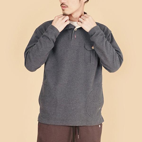 膠原蛋白厚紡刷毛側邊口袋長袖POLO衫(男)-麻花黑
