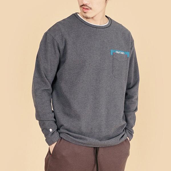 膠原蛋白厚紡刷毛口袋繡花圓領長袖棉衫(男)-麻花黑