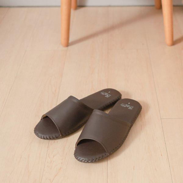(男鞋)真皮手縫家居男拖鞋/防滑室內拖鞋-深咖啡(霧面) 女鞋,室內拖,台灣設計,台灣製造,拖鞋,布花,居家良品,防滑,刺蝟,牛皮,真皮