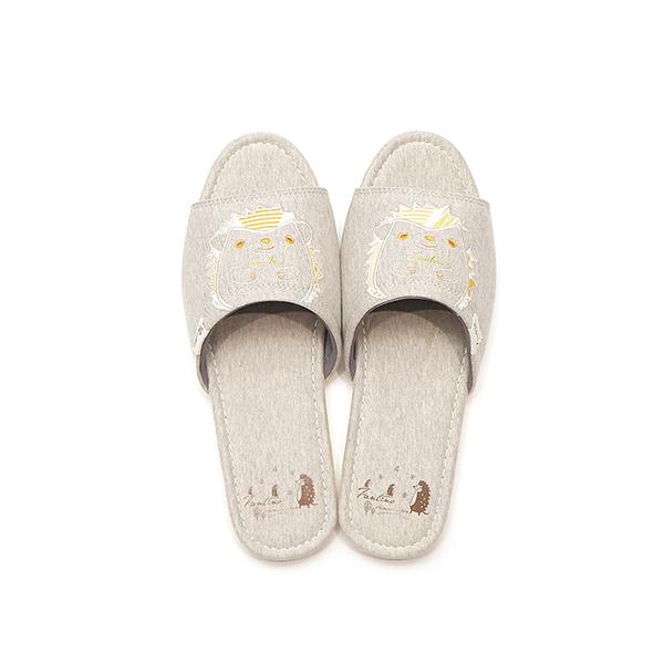 有機棉刺繡家居拖鞋/室內拖鞋-花漾橙(花漾刺蝟) 室內拖,台灣設計,台灣製造,拖鞋,布花,居家良品,防滑,刺蝟