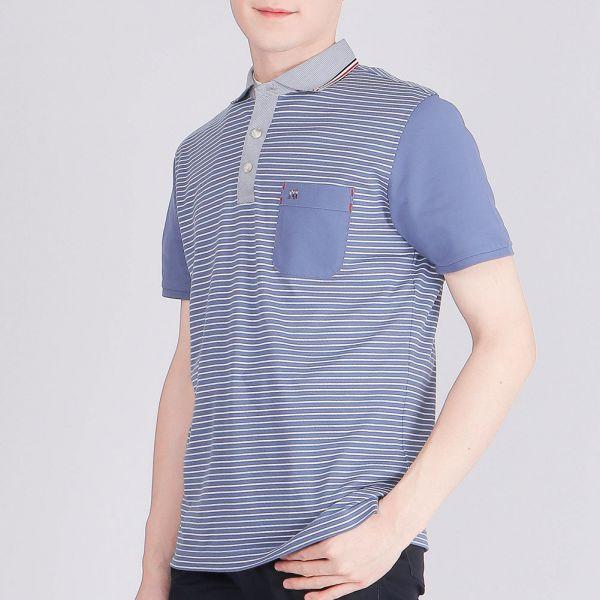 埃及棉POLO衫(男)-深藍條紋
