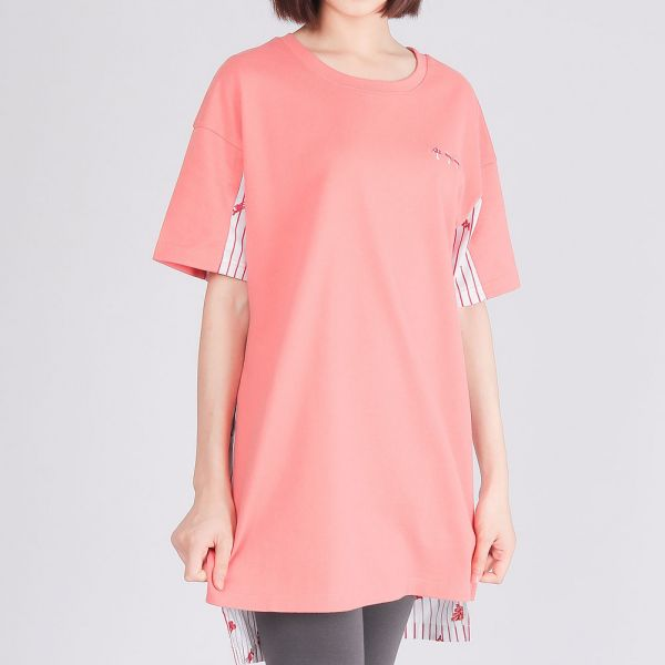 埃及棉拼接長版圓領衫(女)-粉柑紅